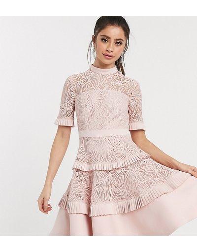 Rosa donna Vestito corto in pizzo a pieghe rosa cipria - Forever New Petite