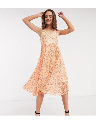 Arancione donna Vestito midi a pieghe arancione a fiori - Forever New Petite