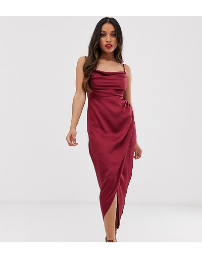 Rosso donna Vestito midi con scollo ad anello rosso vino - Forever New Petite
