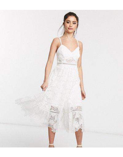 Eleganti pantaloni Bianco donna Vestito midi con spalline sottili in pizzo bianco - Forever New Petite