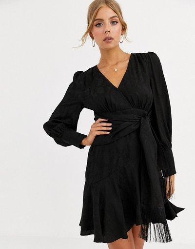 Nero donna Vestitino a portafoglio nero con allacciatura - Forever New