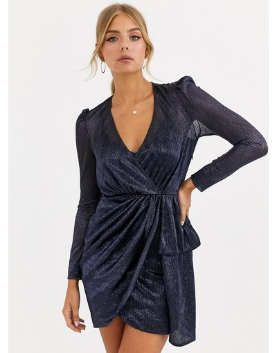 Navy donna Vestitino drappeggiato e metallizzato blu navy - Forever New