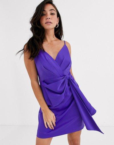 Viola donna Vestitino drappeggiato viola con fiocco - Forever New