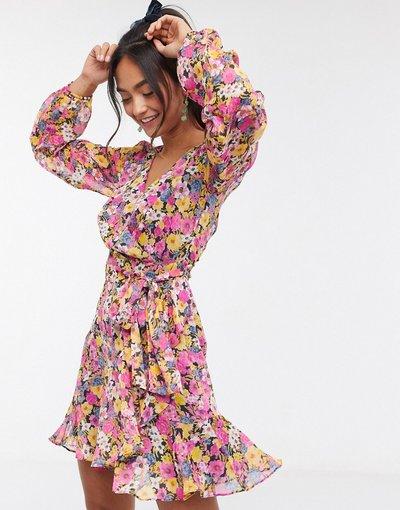 Multicolore donna Vestito a portafoglio corto a maniche lunghe con stampa a fiori mista fucsia - Forever New - Multicolore