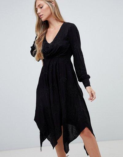 Nero donna Vestito a portafoglio midi ricamato nero - Forever New