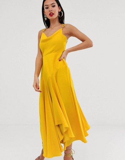 Giallo donna Vestito a sottoveste al polpaccio con scollo ad anello giallo - Forever New