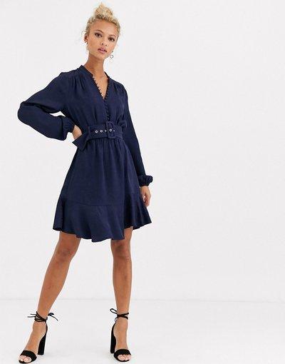 Navy donna Vestito blu navy svasato con cintura e bottoni - Forever New