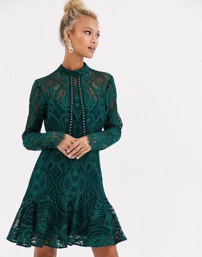 Verde donna Vestito corto accollato in pizzo verde - Forever New - azzurro