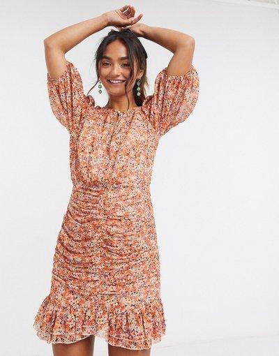 Eleganti gonna Multicolore donna Vestito corto arancione brunito a fiori con fondo morbido - Forever New - Multicolore