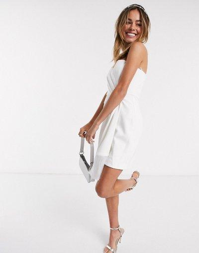 Bianco donna Vestito corto asimmetrico bianco con frange sul fondo - Forever New