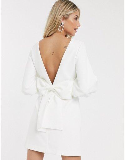 Crema donna Vestito corto avorio con fiocco sul retro - Forever New - Crema