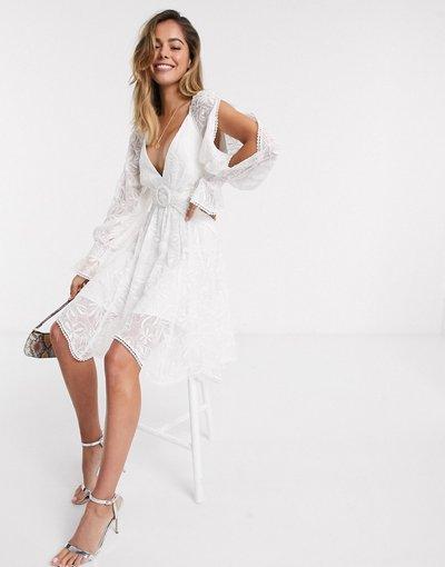 Bianco donna Vestito corto con cintura e cut - Forever New - out bianco