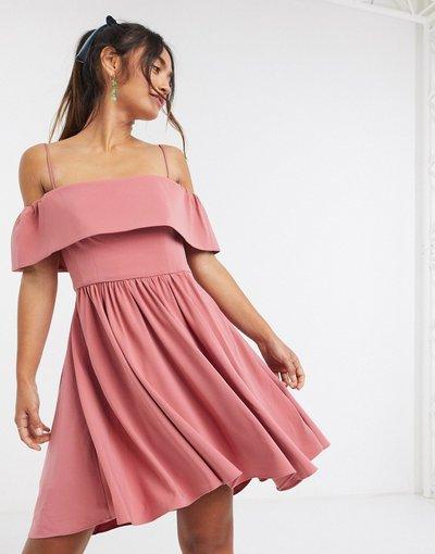 Multicolore donna Vestito corto con scollo alla Bardot rosa polvere - Forever New - Multicolore