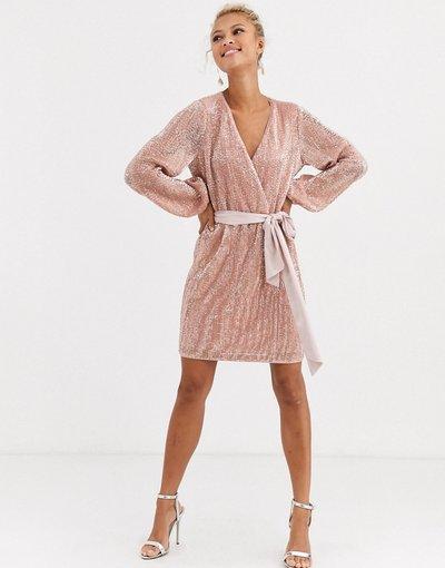 Rosa donna Vestito corto in raso cipria con glitter e fiocco - Forever New - Rosa