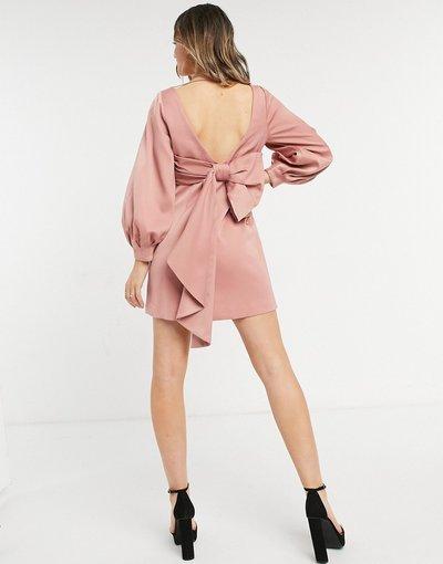 Rosa donna Vestito corto rosa con fiocco sul retro - Forever New