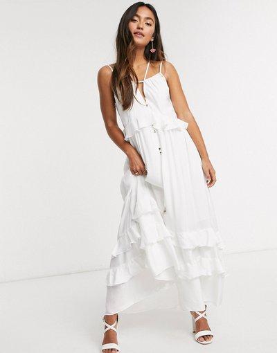Bianco donna Vestito lungo a strati bianco - Forever New