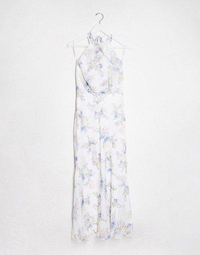 Multicolore donna Vestito lungo accollato con stampa floreale avorio blu giacinto - Forever New - Multicolore
