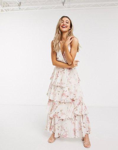 Eleganti lunghi Bianco donna Vestito lungo allacciato al collo a fiori - Forever New - Bianco