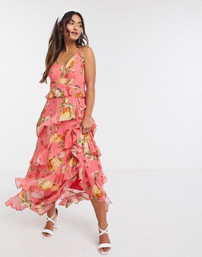 Eleganti lunghi Multicolore donna Vestito lungo color melone acceso a fiori con bottoni e volant - Forever New - Multicolore