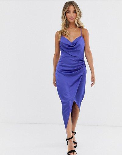 Blu donna Vestito midi a sottoveste blu cobalto con ruches e cerchio in metallo sul retro - Forever New