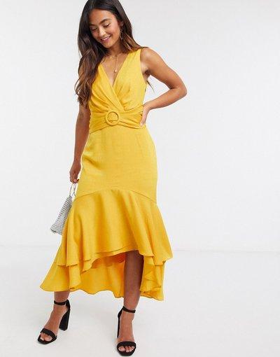 Giallo donna Vestito midi asimmetrico allacciato sul retro con cintura giallo senape - Forever New