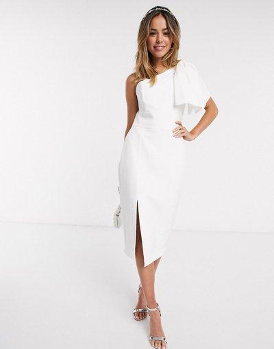 Bianco donna Vestito midi bianco con fiocco sulla spalla e spacco alla coscia - Forever New