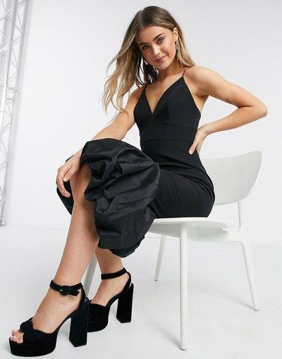 Marrone donna Vestito midi con scollo profondo e peplo strutturato in raso nero - Forever New - Marrone