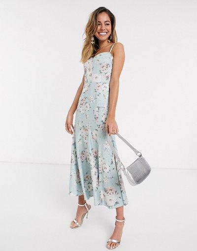 Multicolore donna Vestito midi con spalline sottili e stampa a fiori menta tenue - Forever New - Multicolore