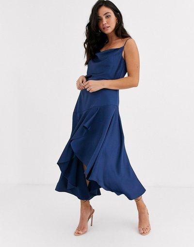 Blu donna Vestito midi in raso blu notte con scollo ad anello - Forever New