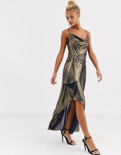 Oro donna Vestito midi metallico con scollo ad anello oro - Forever New