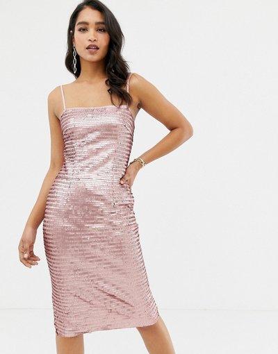 Rosa donna Vestito midi rosa con paillettes e spalline sottili - Forever New