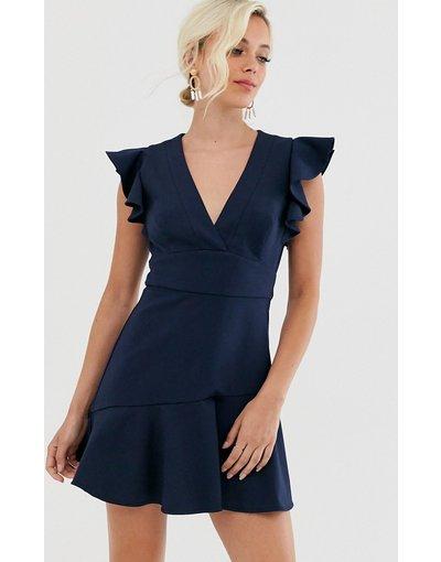 Navy donna Vestito peplo blu navy - Forever New