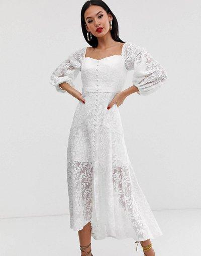 Bianco donna Vestito ricamato bianco con scollo alla Bardot - Forever New