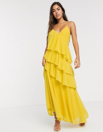 Giallo donna Vestito lungo con spalline sottili, volant e spacco alla coscia giallo - Forever U Collection