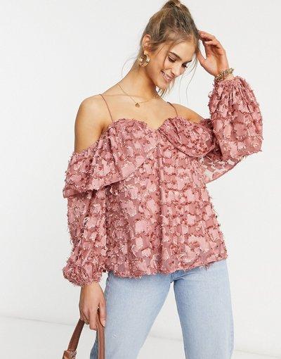 Camicia Rosa donna Top con spalle scoperte testurizzato rosa polvere - Forever U