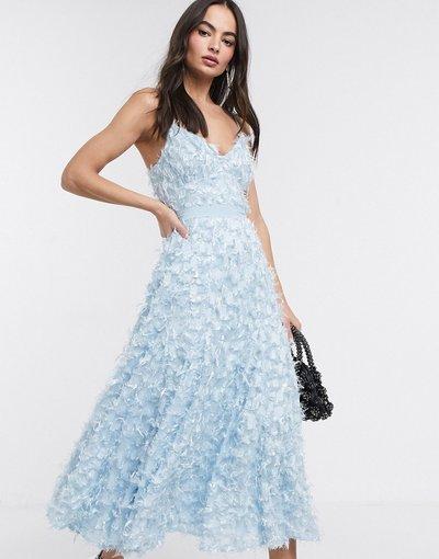 Blu donna Vestito midi blu polvere con frange 3D - Forever U