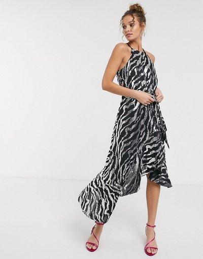 Eleganti longuette Multicolore donna Vestito midi zebrato nero e argento con paillettes e volant - Multicolore - Forever U