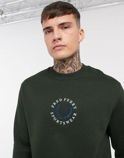 Felpa Verde uomo Felpa con logo rétro verde - Fred Perry