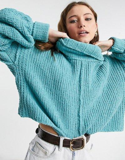 Blu donna Maglione con collo a imbuto e maniche a palloncino blu - Free People - Be Yours