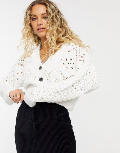 Crema donna Cardigan corto in maglia crema - Free People - Chloe