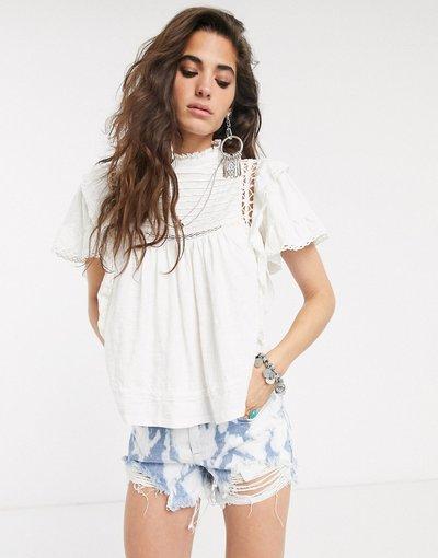 Camicia Bianco donna Blusa accollata - Free People - Le Femme - Bianco