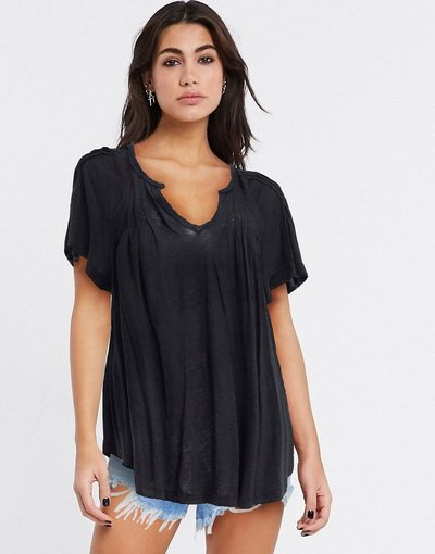 T-shirt Nero donna Free People - Lovely Day - Top nero
