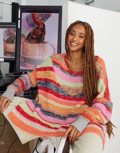 Multicolore donna Maglione oversize a righe multicolore - String Lights - Free People