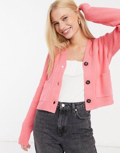 Rosa donna Cardigan modello corto color rosa del deserto chiaro - French Connection - Babysoft