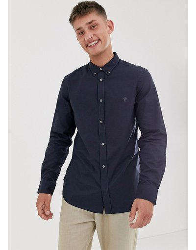 Camicia Navy uomo Camicia Oxford con logo e colletto button - French Connection - down - Navy