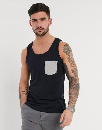 T-shirt Navy uomo French Connection - Canotta con tasca - Navy