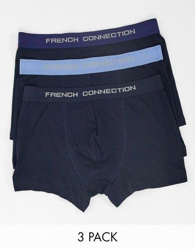 Calze Blu uomo Confezione da 3 boxer aderenti blu multi - French Connection
