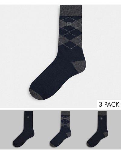 Intimo Blu navy uomo Confezione da 3 paia di calzini con stampa a losanghe - French Connection - Blu navy
