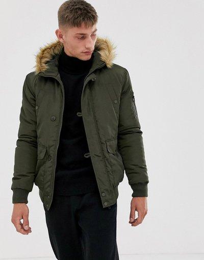 Verde uomo Giacca modello aviatore con cappuccio in pelliccia sintetica - French Connection - Verde