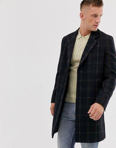 Navy uomo Soprabito premium in misto lana tabacco a quadri - French Connection - Navy